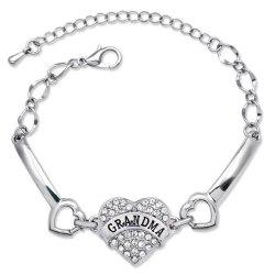 Stylish Rhinestone Engraving GRANDMA Heart Bracelet For Women
