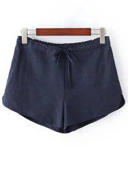 Casual Style Straight Leg Pure Color Drawstring Women's Shorts -