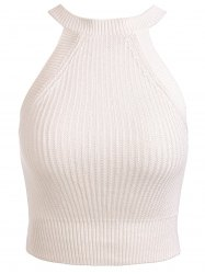 Stylish Jewel Neck Sleeveless Solid Color Knitted Women's Crop Top - WHITE