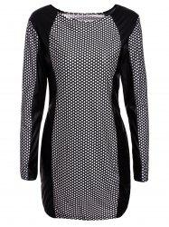Sexy Jewel Neck Long Sleeve PU Leather Splicing Printed Dress For Women