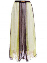 Color Block Flowy Long Skirt - KHAKI