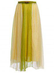 Color Block Flowy Long Skirt - GREEN