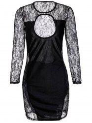Cut Out Lace Long Sleeve Mini Bodycon Dress -