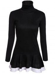 Stylish Turtleneck Long Sleeves Color Splicing Flounce Dress For Women -