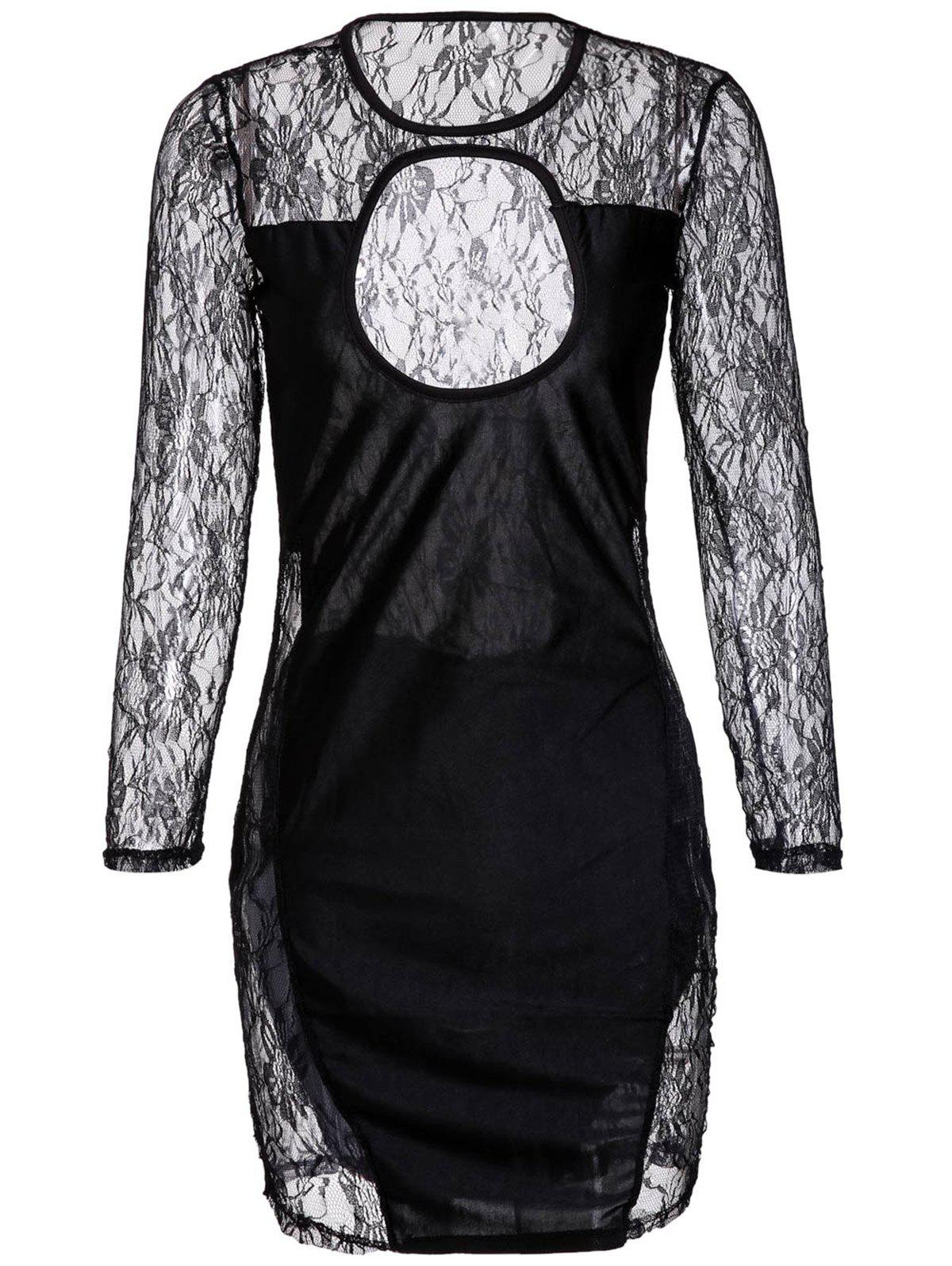 Cheap Cut Out Lace Long Sleeve Mini Bodycon Dress