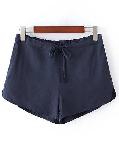 Store Casual Style Straight Leg Pure Color Drawstring Women's Shorts