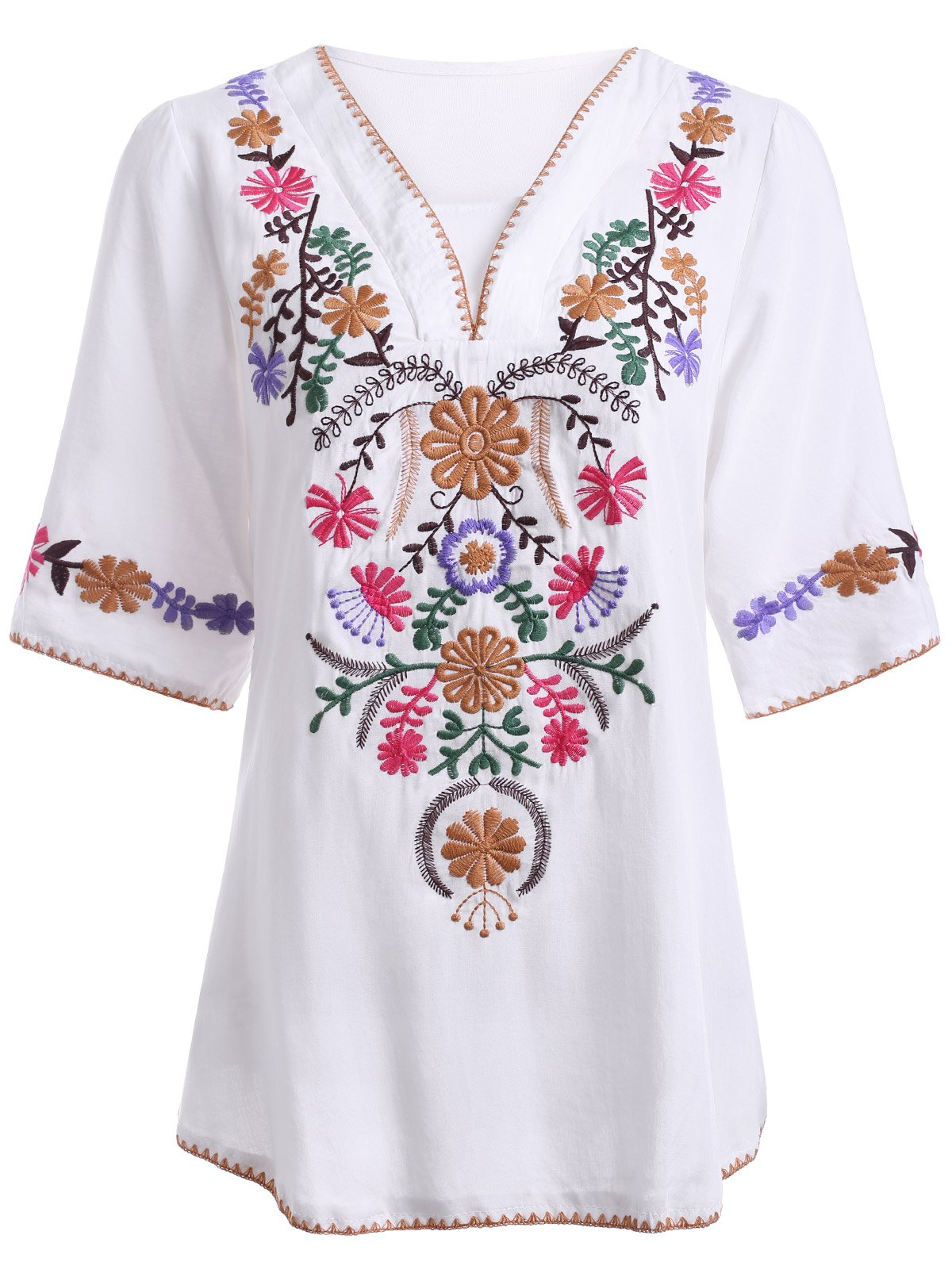 Trendy Ethnic Style Embroidery V Neck 3/4 Sleeve Blouse For Women