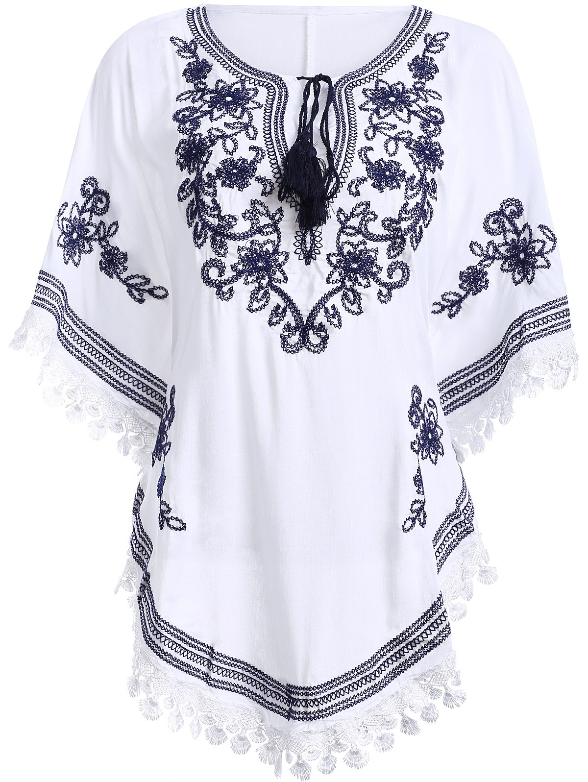 Outfit Bohemian Batwing Sleeves Embroidery Blouse For Women