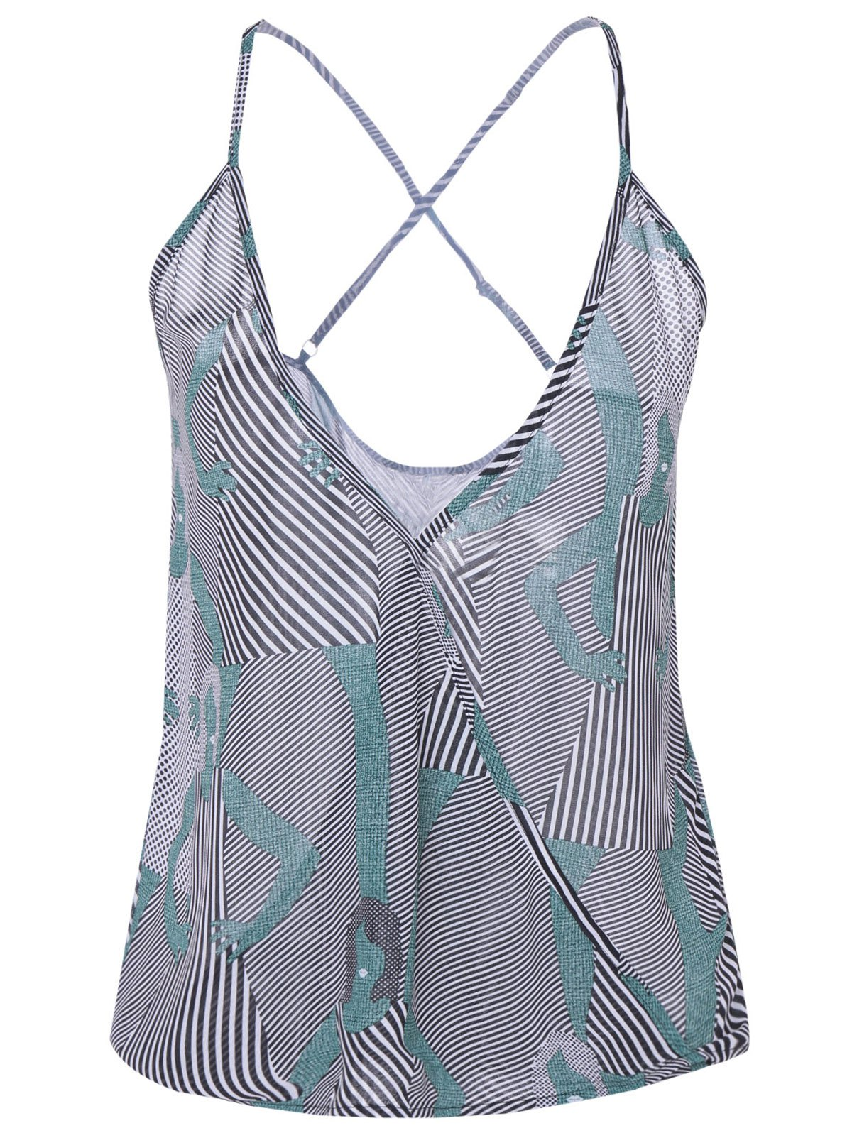 Trendy Printed Striped Camisole Tank Top