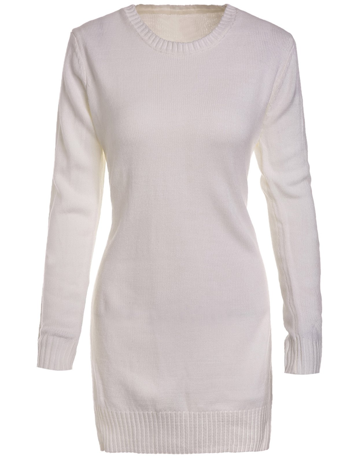 Sweet Round Neck High Slit White Sweater For WomenWOMEN<br><br>Size: M; Color: WHITE; Type: Pullovers; Material: Polyester; Sleeve Length: Full; Collar: Round Neck; Style: Fashion; Pattern Type: Solid; Weight: 0.316kg; Package Contents: 1 x Sweater;