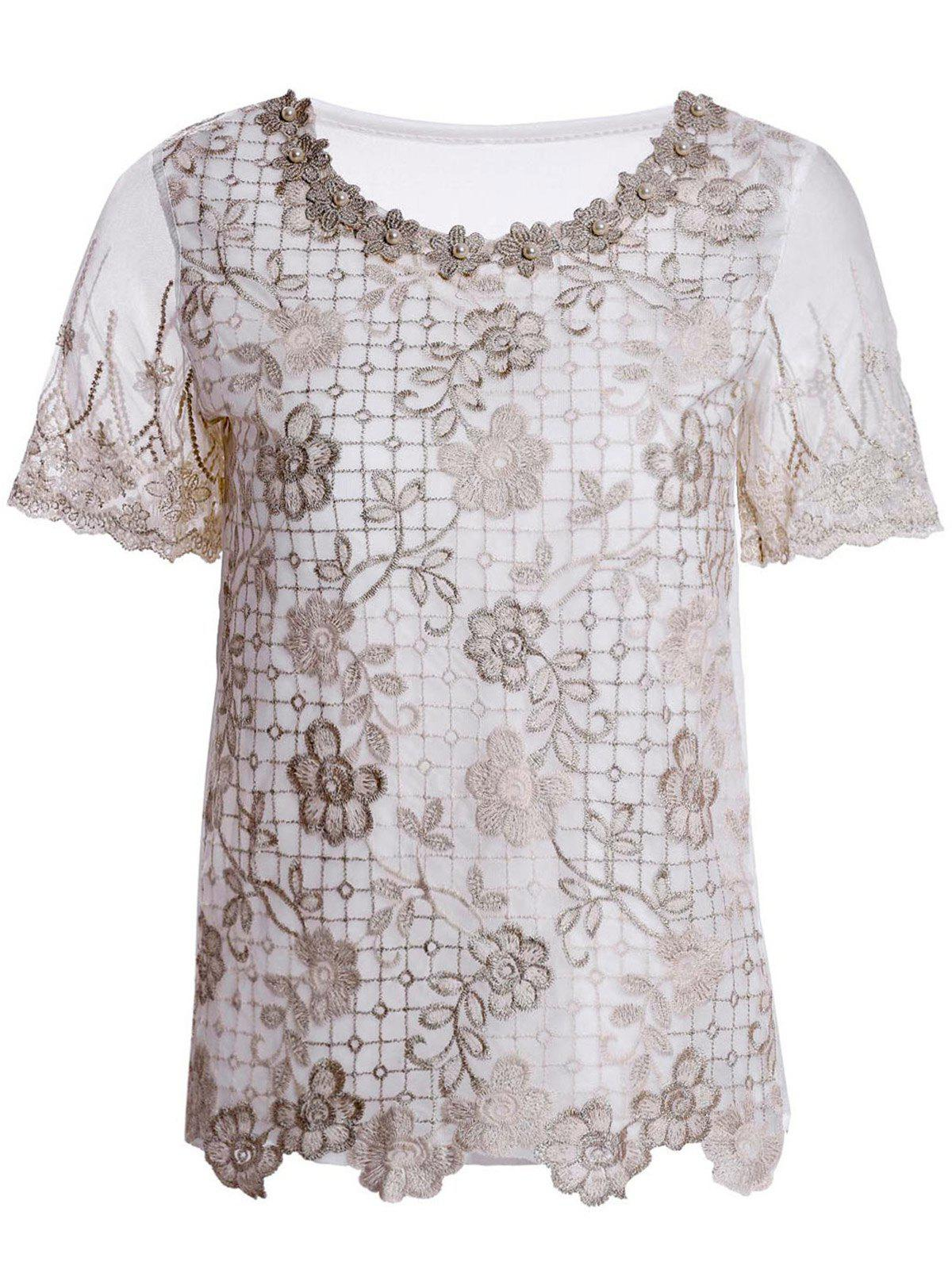 Fancy Refreshing Scoop Neck Faux Pearl Beaded Embellished Lace Splicing Women's Blouse