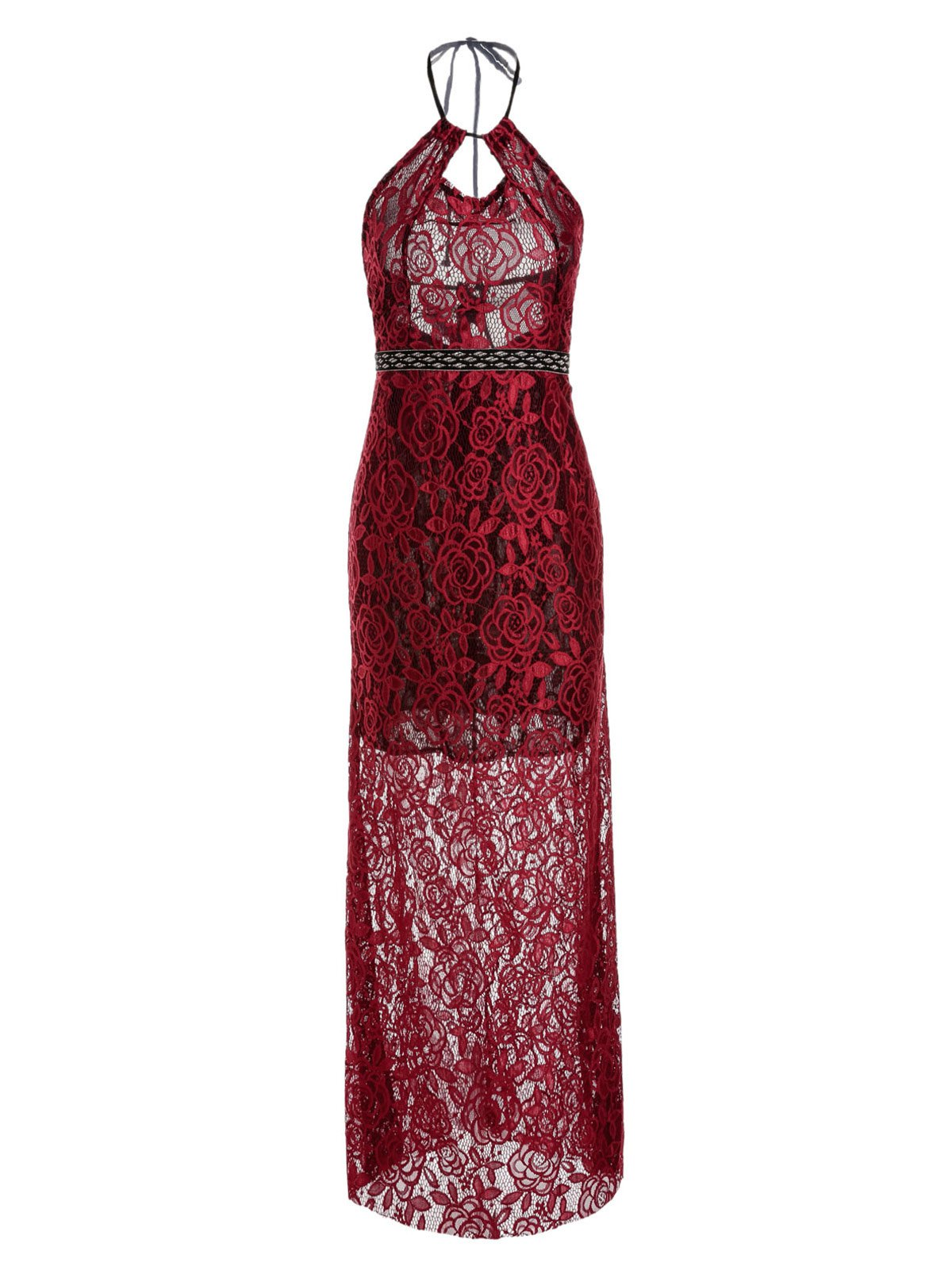 Shop Sexy Style Spaghetti Strap Backless Hollow Out Lace Sleeveless Maxi Dress For Women