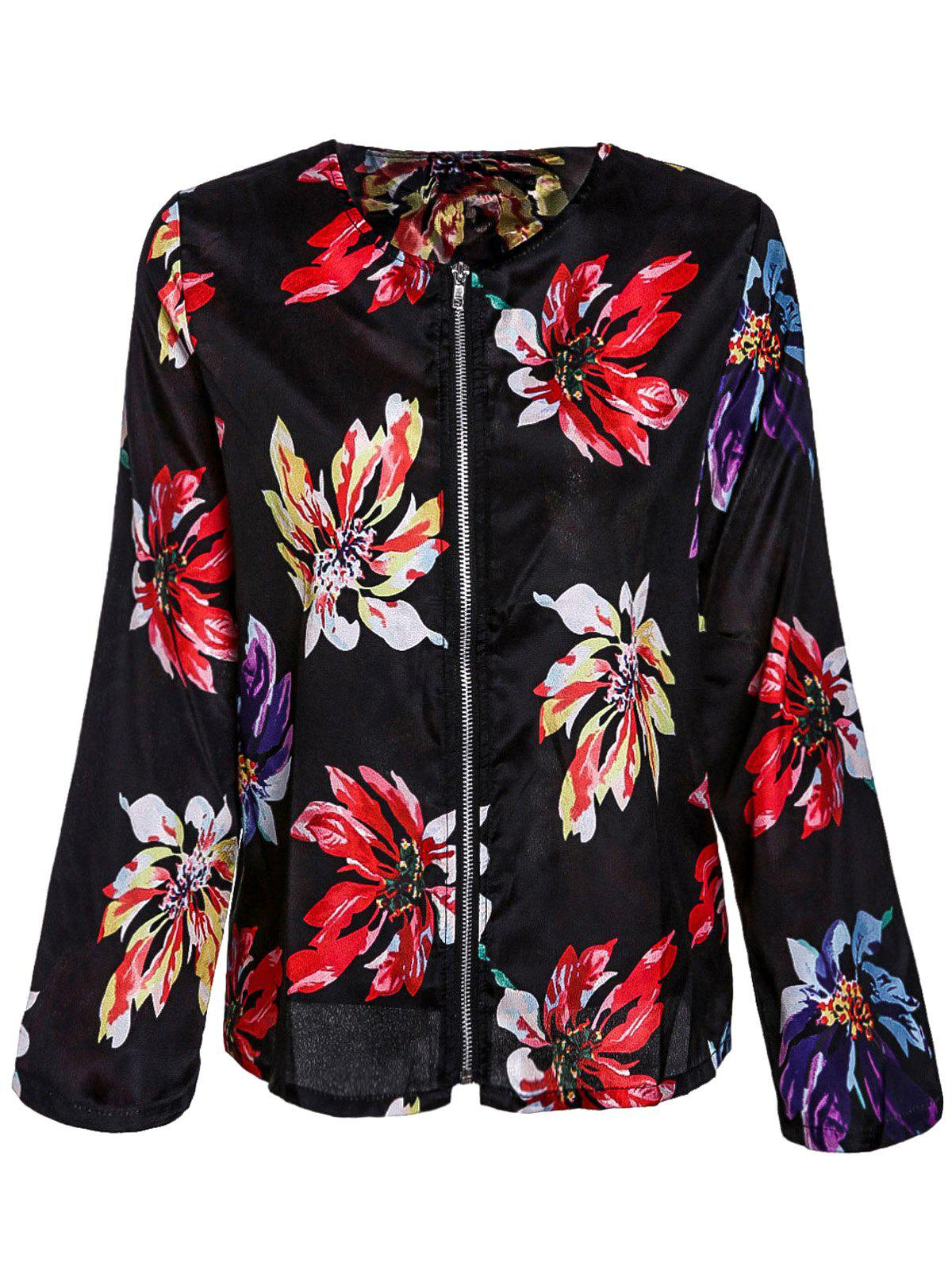 Unique Ethnic Style Round Collar Floral Print Long Sleeve Coat For Women