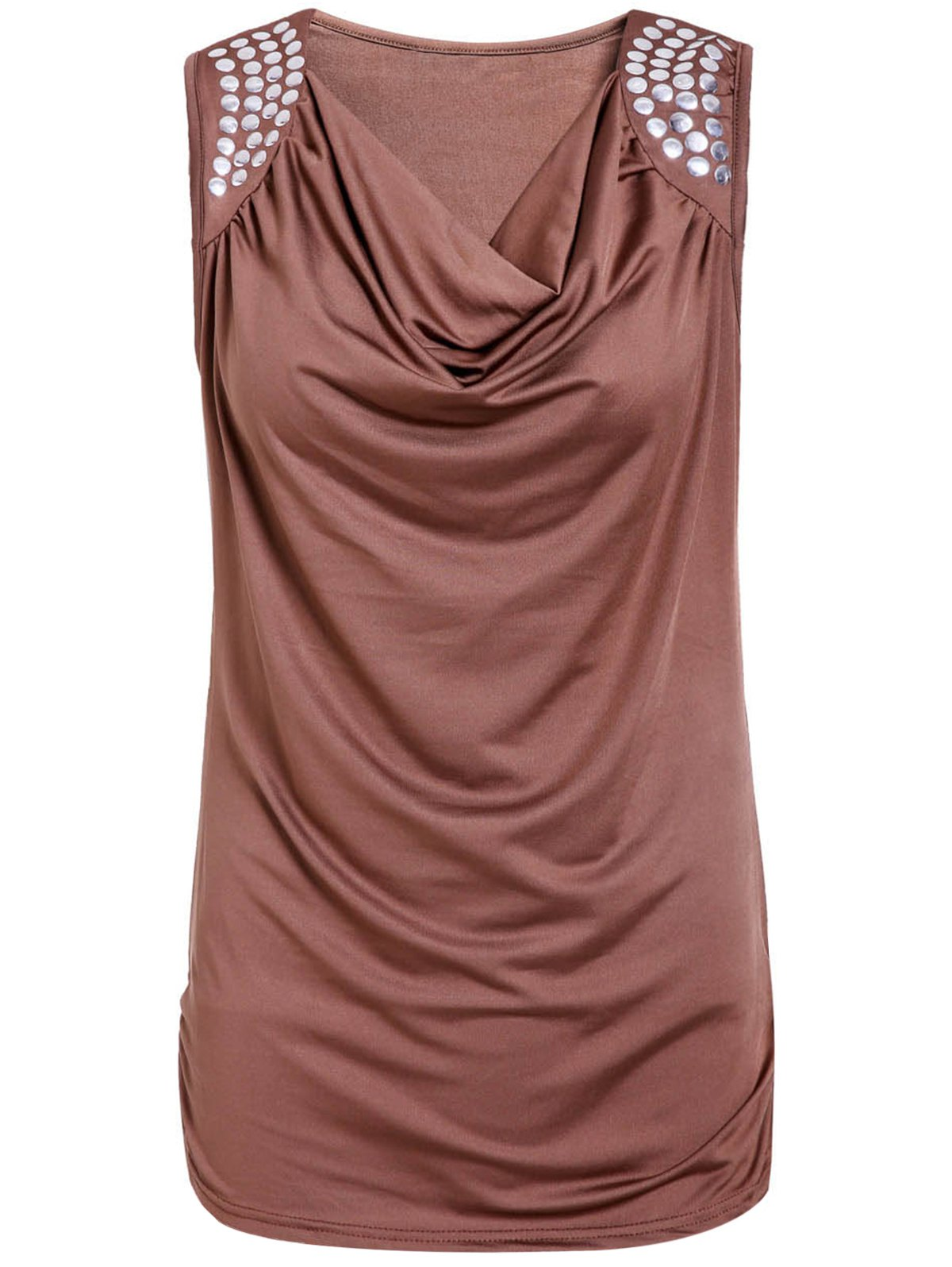 Fancy Stylish Draped Collar Studded Solid Color Top For Women
