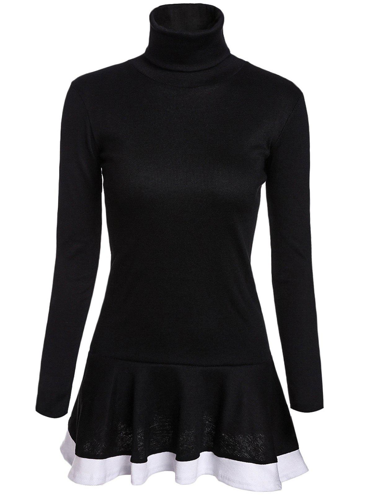 Buy Stylish Turtleneck Long Sleeves Color Splicing Flounce Dress For Women