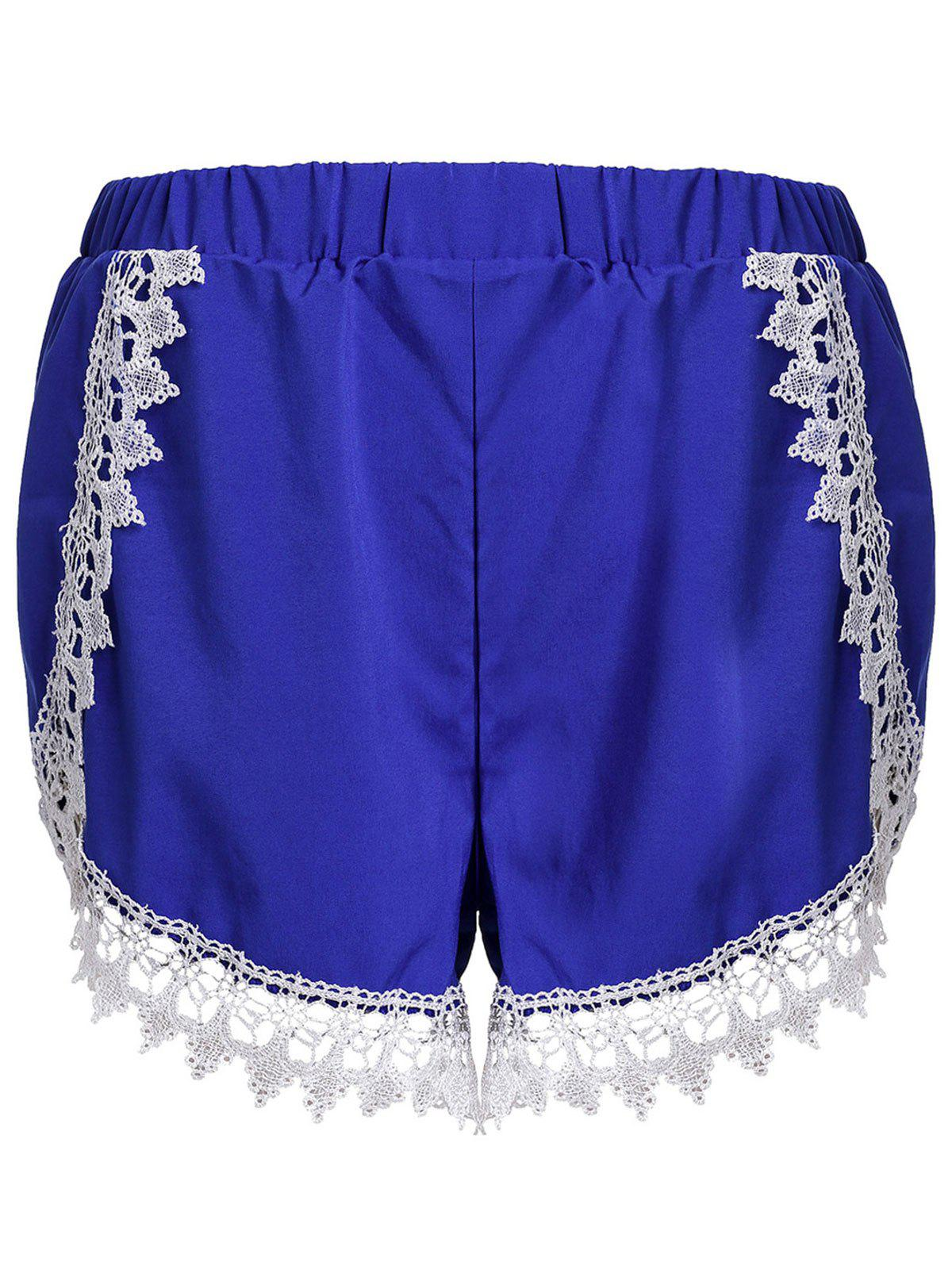 Outfit Sweet Elastic Waist Laced Loose Shorts For Women