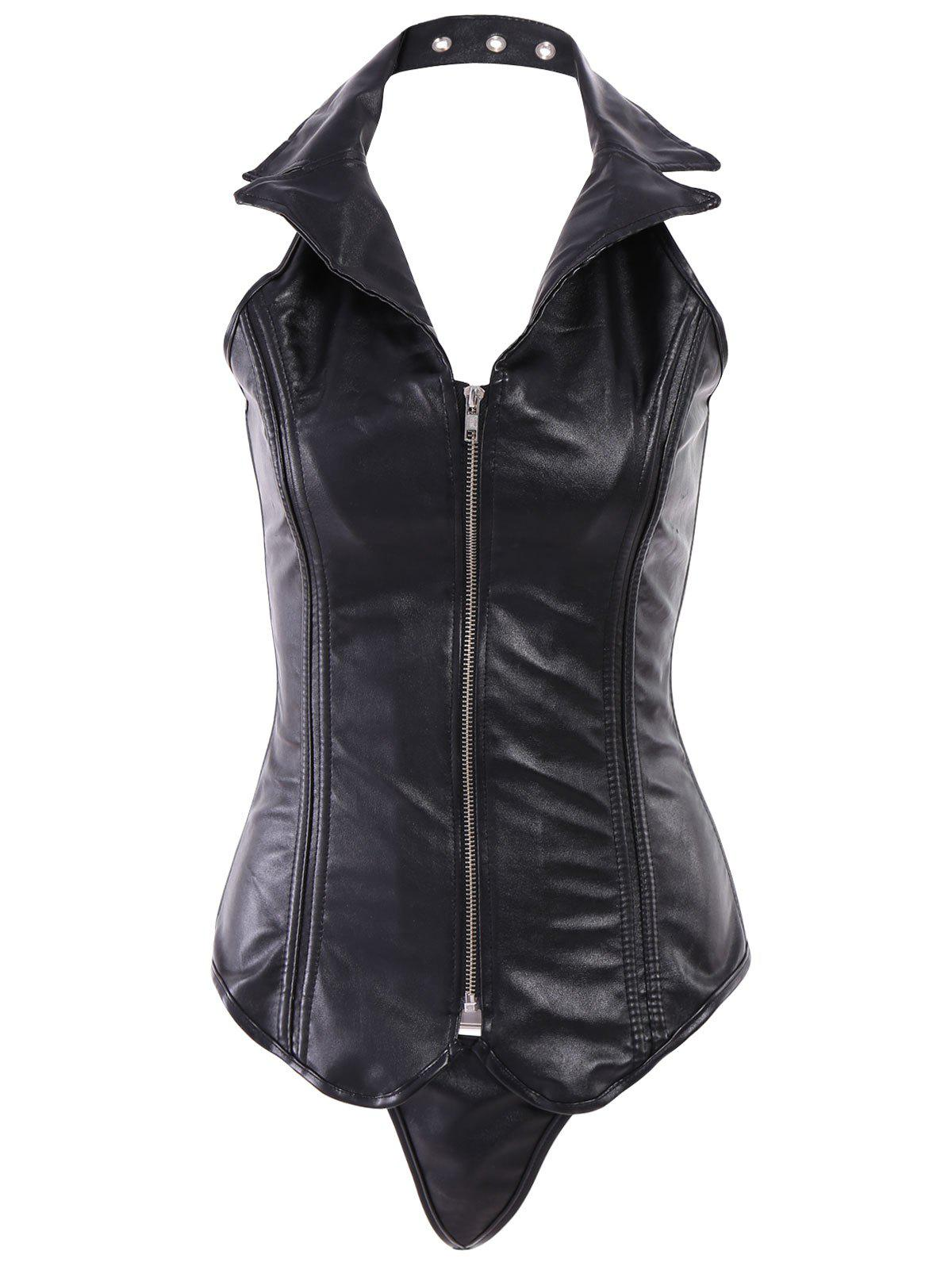 2018 Sexy Turn Down Collar Pu Leather Corset For Women In