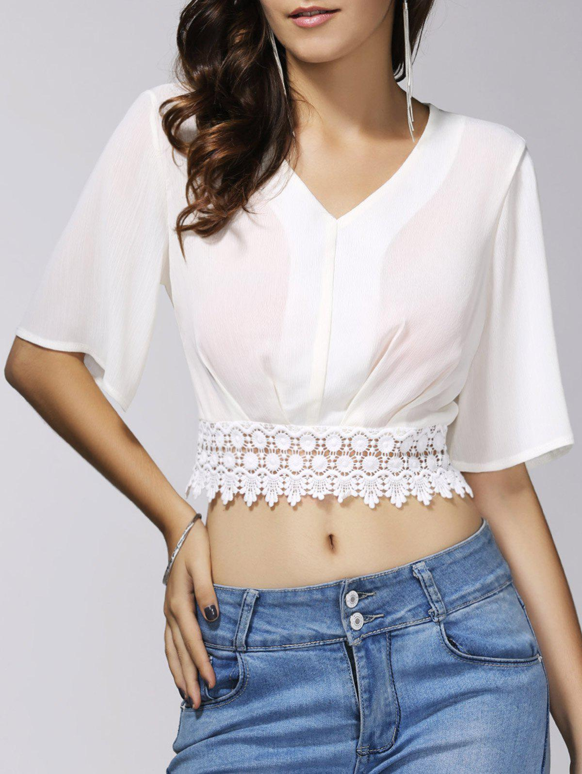 Discount Stylish V-Neck 1/2 Sleeve Lace Embellished Crop Top For Women