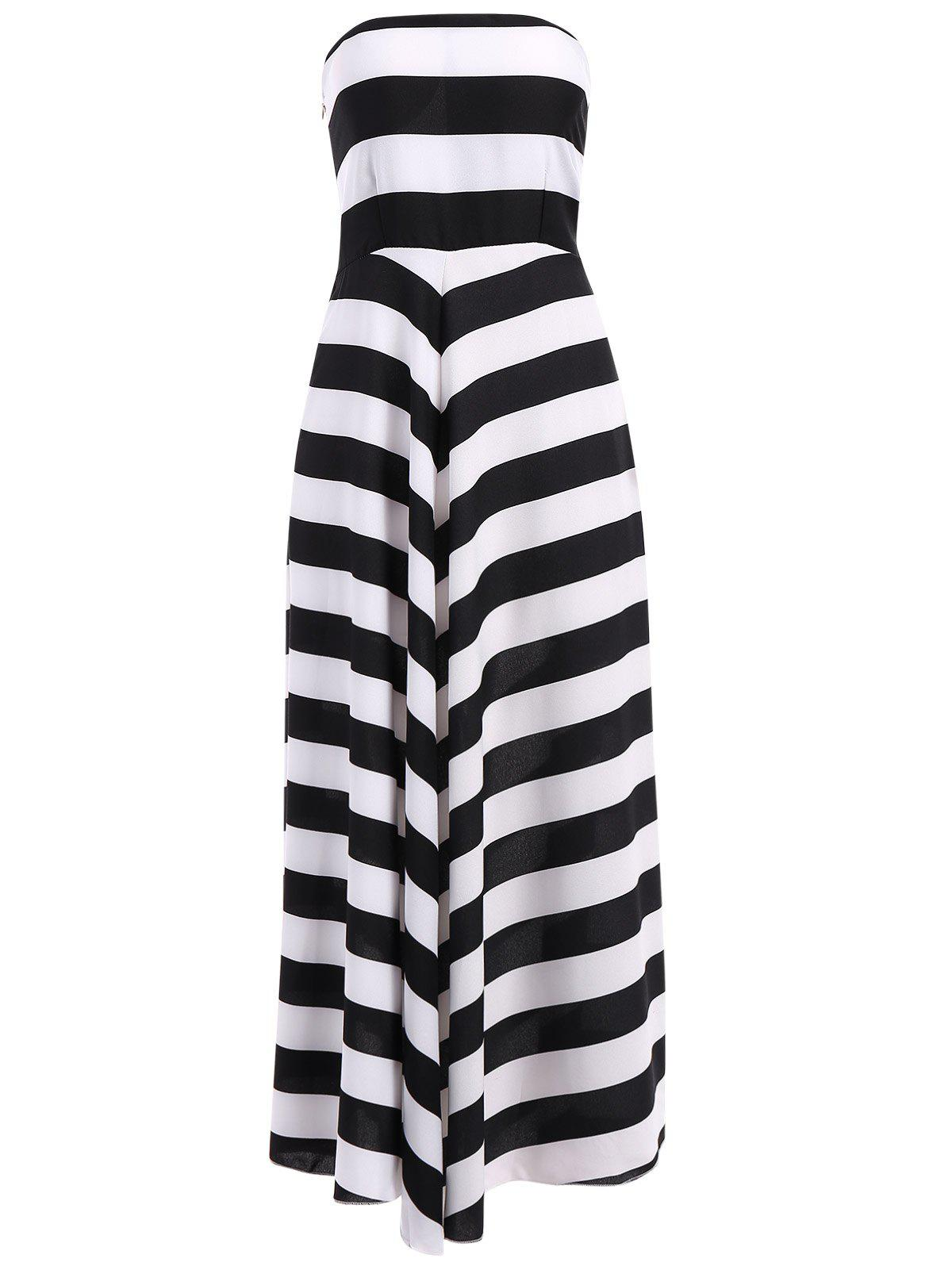 Fashion Strapless Bandeau Striped Maxi Prom Party Dress
