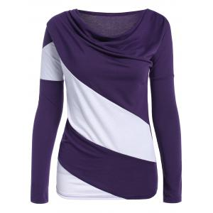 Color Block Cowl Neck Long Sleeve T-Shirt - Purple - Xl