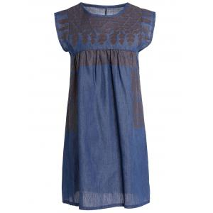 Stylish Round Collar Sleeveless Chambray Women's Dress - Blue - M