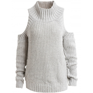 Stylish Turtleneck Long Sleeve Cutout Women's Sweater