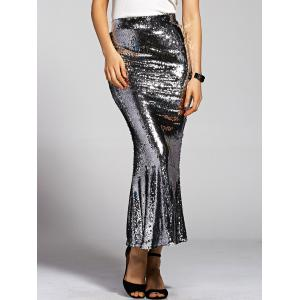 Stylish High Waist Silver Sequined Mermaid Women's Skirt