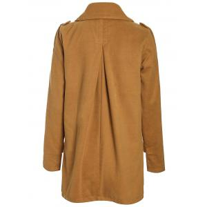 Stylish Turn-Down Neck Long Sleeve Double-Breasted Pocket Design Women's Coat - EARTHY XL