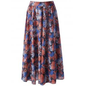 Palm Leaf Flowy Midi Beach Skirt