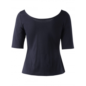 Casual Round Collar Half Sleeve T-shirt For Women - BLACK XL