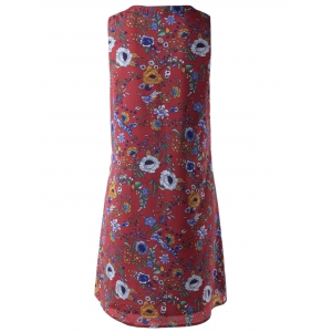 Fashionable Printing Bind Sleeveless Dress For Women - DARK RED L
