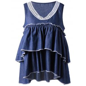Denim Layered Ruffle Tank Top - Denim Blue - Xl