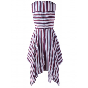 Fashionable Stripe Splicing Dress For Women - RED WITH WHITE M