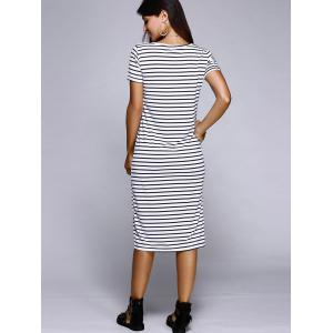 Casual Scoop Neck Striped Slit Midi Dress For Women -