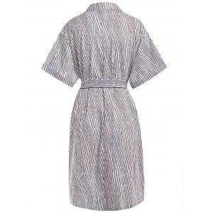 Trendy Stripe Short Sleeve Pocket Self Tie Shirt Dress For Women -