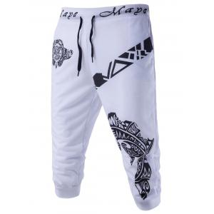 Abstract Printed Solid Color Lace-Up Shorts For Men - White - M