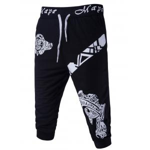 Abstract Printed Solid Color Lace-Up Shorts For Men
