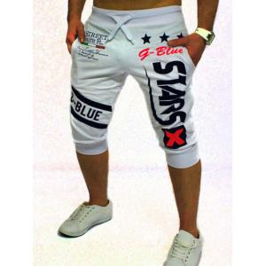 Graphic and Star Printed Lace-Up Jogger Shorts - White - M