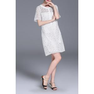 Cut Out Straight Lace Dress - WHITE XL