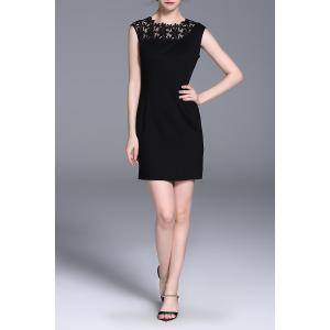 Lace Spliced Sheath Sleeveless Dress -