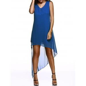 Asymmetric Hem Chiffon Casual Flowy Dress