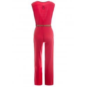 Trendy Plunging Neck Sleeveless Solid Color Epaulet Women's Jumpsuit - RED M
