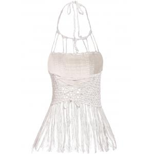 Halter Sleeveless Solid Color Fringe Design Knitted Women's Tank Top -
