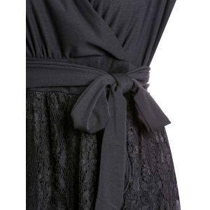 Plus Size Long Lace Surplice Formal Dress -
