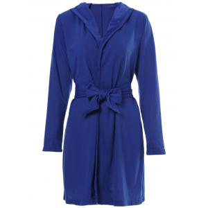 Sexy Hooded Solid Color Long Sleeve Slit Mini Dress For Women