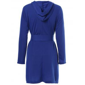 Sexy Hooded Solid Color Long Sleeve Slit Mini Dress For Women -