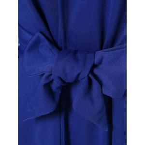 Sexy Hooded Solid Color Long Sleeve Slit Mini Dress For Women - BLUE XL