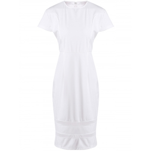 Stylish Round Neck Short Sleeve Mesh Spliced Plus Size Dress For Women