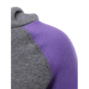 Casual Style Hooded Long Sleeve Spliced Front Pocket Design Women's Pullover Hoodie - PURPLE XL