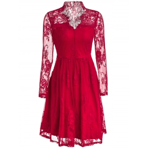 Long Sleeve See-Through Prom Ball Gown Dress - RED S